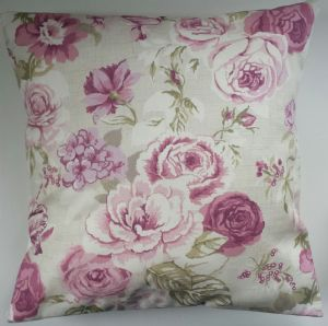 "Cushion Cover in Clarke and Clarke Genevieve Roses Mulberry 14"" 16"" 18"" 20"""